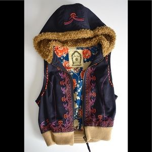 Free People Jackets & Coats - free people • embroidered navy vest